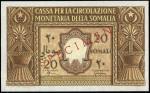 Cassa per la Circolazione Monetaria della Somalia, specimen 20 somali, 1950, zero serial number, yel