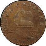1787 New Jersey copper. Maris 30-L. Rarity-4. Outlined Shield. EF-45 (PCGS).