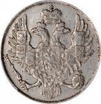 RUSSIA. Platinum 3 Rubles, 1837-CNB. St. Petersburg Mint. Nicholas I. PCGS EF-40 Gold Shield.