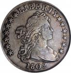 1802 Draped Bust Silver Dollar. BB-242, B-5. Rarity-5. Wide Date. VF Details--Graffiti (PCGS).