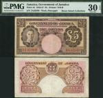 Government of Jamaica, £5, 7 April 1955, serial number 3A 92988, brown on multicolour underprint, Ge