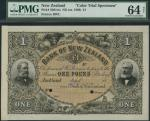 Bank of New Zealand, specimen £1, Auckland, 18- (1880s), black, pink and green, bearded gentleman at