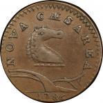 1786 New Jersey copper. Maris 21-N. Rarity-3. Wide Shield. EF-45+ (PCGS).