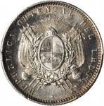 URUGUAY. 20 Centesimos, 1877-A. PCGS SP-64 Secure Holder.