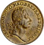 Undated (1722) Rosa Americana Twopence. Martin 2.1-B.1, W-1322. Rarity-3. With Ribbon. AU-55 (PCGS).