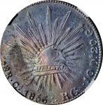 1856-Ca RG (5/4)年墨西哥鹰洋壹圆银币。MEXICO. 8 Reales, 1856-Ca RG (5/4). Chihuahua Mint. NGC MS-62.