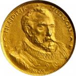 1909 Hudson-Fulton Celebration. Hendrik Hudson Daalder. Gold. 15 mm. HK-371. Rarity-7. MS-64 (NGC).