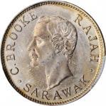 1906-H年沙捞越10分。喜敦造币厂。SARAWAK. 10 Cents, 1906-H. Heaton Mint. PCGS MS-62 Gold Shield.