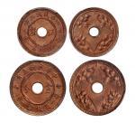 1814民国五年嘉禾圆孔伍厘、壹分铜币各一枚,均为PCGSMS64RB