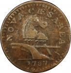 1787 New Jersey copper. Maris 64-u. Rarity-5. Large Planchet, Plain Shield. VF-35 (PCGS).
