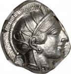 ATTICA. Athens. AR Tetradrachm (17.20 gms), ca. 440-404 B.C. NGC Ch AU★, Strike: 5/5 Surface: 4/5.