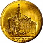 GERMANY. Schwabisch Hall. Gold Burning and Reconstruction of the Rathaus Medal, 1735. NGC MS-61.