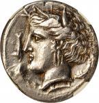 公元前320 / 15-300西西里 尔奇西库洛 - 迦太基。 恩特拉。SICILY. Siculo-Punic. Entella. AR Tetradrachm, ca. 320/15-300 B.