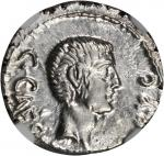 OCTAVIAN. AR Denarius (3.77 gms), Military Mint in Italy, ca. 40 B.C. NGC AU, Strike: 5/5 Surface: 5