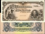 BOLIVIA. Banco Agricola. 10 Bolivianos, 1903. P-450sp. Face & Back Specimen Proof. Uncirculated.