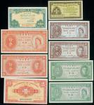 香港政府纸币9枚一组,1941,45及60年的1分,5分及10分,均UNC,其中60年女皇10分有处理痕迹