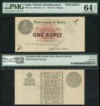 Government of India, specimen 1 Rupee, ND (1917), no serial numbers, black and white with a pink cen