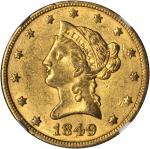 1849/1848 Liberty Head Eagle. Breen-6888. AU-58 (NGC).