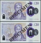 Bank of England, Sarah John, polymer £20, ND (20 February 2020), serial number AA01 000033/34, purpl