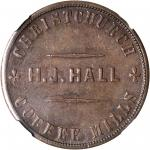 NEW ZEALAND. Christchurch. Henry J. Hall. Penny Token, ND (ca. 1864-65). NGC AU-55 BN.