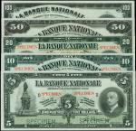 CANADA. Banque Nationale. 5 to 100 Dollars, 2.11.1922. P-P-S871s to S875s. Specimens. PMG Uncirculat