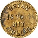 Undated Bryan Dollar. Brass. 93.3 mm. Schornstein-Unlisted, Zerbe-Unlisted. Extremely Fine.