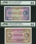 Government of Malta, a small group comprising 1 shilling overprinted on 2 shillings, ND (1940), Geor