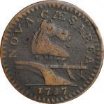 1787 New Jersey Copper. Maris 64-t, W-5380. Rarity-1. Trident Shield, Large Planchet. Very Fine, Gra