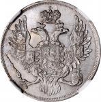 RUSSIA. Platinum 3 Rubles, 1834-CNB. St. Petersburg Mint. Nicholas I. NGC AU Details--Cleaned.