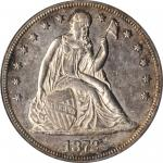 1872 Liberty Seated Silver Dollar. OC-3. Rarity-1. Misplaced Date, Doubled Die Reverse. AU-55 (PCGS)