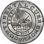1776 (1783) Continental Dollar. Newman 3-D, W-8460. Rarity-4. CURRENCY, EG FECIT. Pewter. Unc Detail
