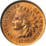 1873 Indian Cent. Open 3. MS-65 RB (PCGS). CAC.