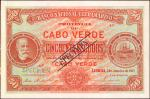 CAPE VERDE. Banco Nacional Ultramarino. 50 Escudos, 1921. P-37s. Specimen. Uncirculated. Previously