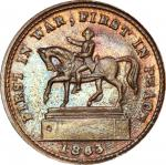 1863 Equestrian / FREE DOM Civil War token. Musante GW-646, Baker-482, Fuld-177/295a. Rarity-9. Copp
