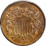 1871 Two-Cent Piece. Proof-66 RB (PCGS). CAC.