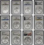 Lot of (12) West Point Mint Silver Eagles. Burnished. MS-69 (NGC).