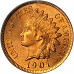 1901 Indian Cent. MS-65 RD (PCGS). CAC.