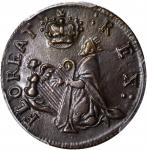 Undated (Circa 1663-1672) St. Patrick Farthing. Breen-208. Nothing Below King. Copper. AU-58 (PCGS).