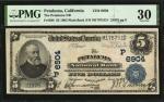 Petaluma, California. $5 1902 Plain Back. Fr. 598. The Petaluma NB. Charter #6904. PMG Very Fine 30.