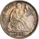 1886 Liberty Seated Dime. Fortin-105. Rarity-4. Repunched Date. MS-67+ (PCGS). CAC.