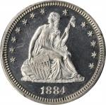 1884 Liberty Seated Quarter. Proof-64 Cameo (PCGS). CAC.