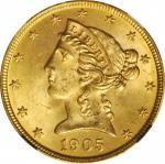 1905 Liberty Head Half Eagle. MS-64 (NGC).