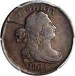 1805 Draped Bust Half Cent. C-1. Rarity-1. Medium 5, Stemless Wreath. Fine-12 (PCGS).