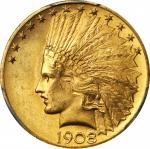 1908 Indian Eagle. Motto. MS-64+ (PCGS). CAC.