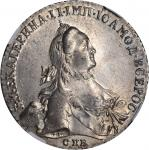 RUSSIA. Ruble, 1764-CNB RI. Catherine II (The Great) (1762-96). NGC MS-61.