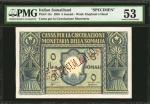 ITALIAN SOMALILAND. Cassa per la Circolazione Monetaria della Somalia. 5 Somali, 1950. P-12s. Specim