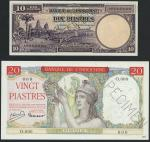 French Indo China, Banque de lIndo-Chine, lot of 2 specimen notes, 10 piastres, 1947, serial number