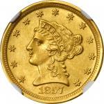 1857-D Liberty Head Quarter Eagle. MS-62+ (NGC).