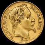 FRANCE Napoleon III ナポレオン3世(1852~70) 20Francs 1868A VF+