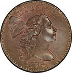 1794 Liberty Cap Cent. Sheldon-24. Head of 1794. Rarity-1. Mint State-67 RB (PCGS).